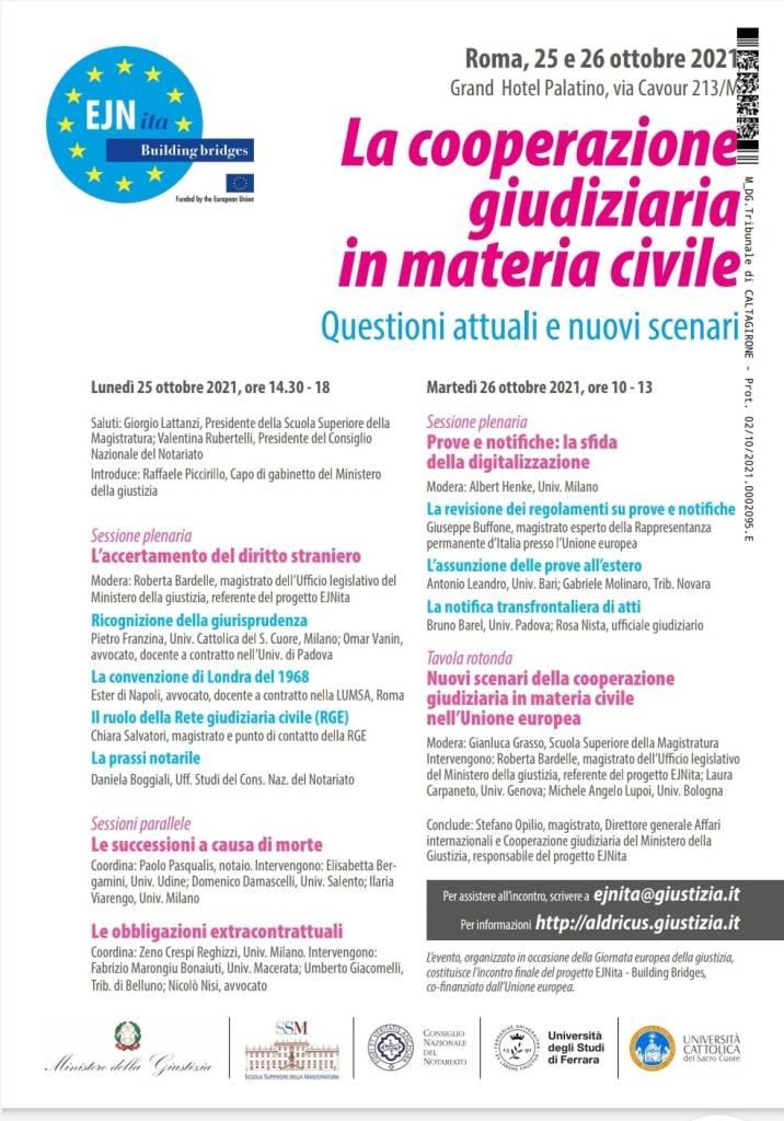 Roma 25 e 26 Ottobre EJNita Building Bridges Conferenza conclusiva del progetto cofinanziato dal Programma Giustizia dell'Unione europea 2014-2020 dal titolo La cooperazione giudiziaria in materia civile