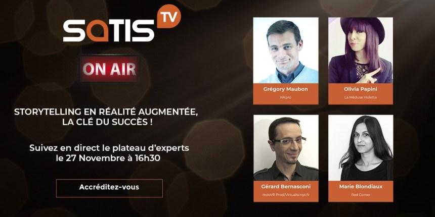 Avec SATIS TV on vous reparle des liens entre narration et réalité augmentée le 27 novembre
