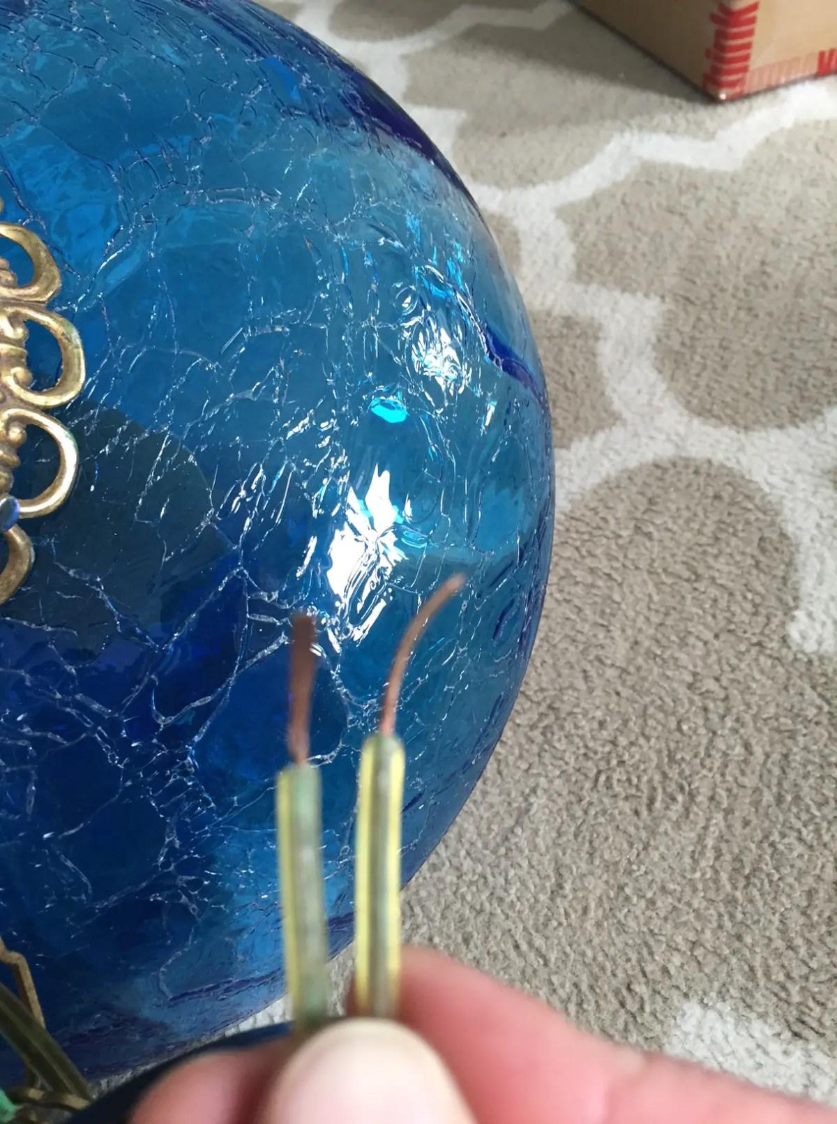 Blue glass Tiffany lamp