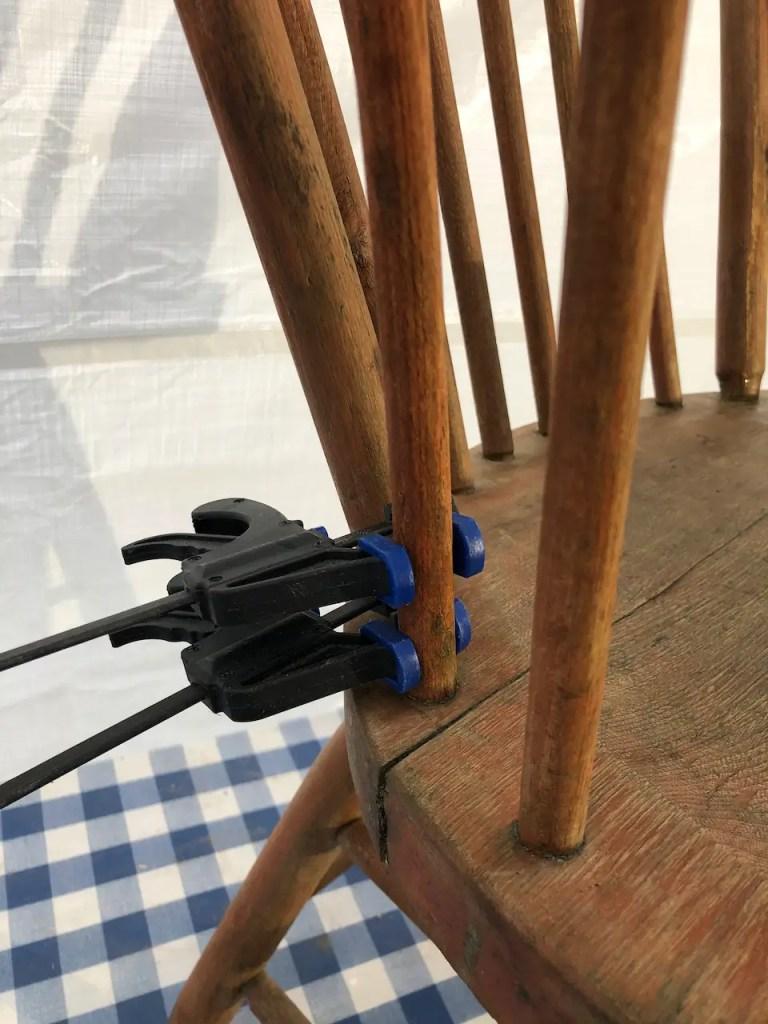 broken spindle repair on antique chair