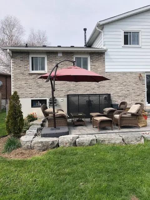 old faded patio umbrella restoring