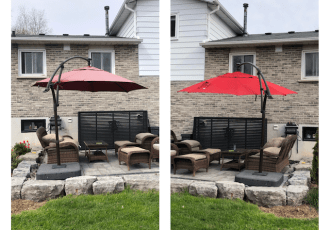 before and after patio umbrella paint