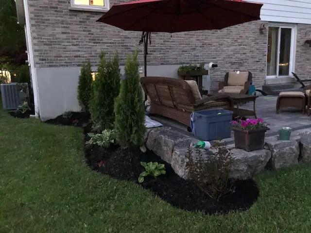 natural stone patio retaining wall