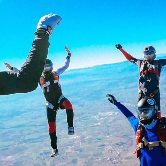 Skydivers training head up movement at Skydiving Empuriabrava