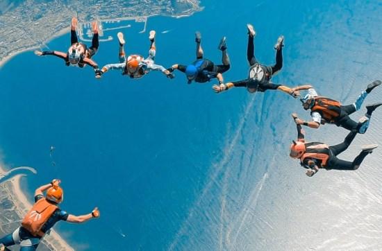 ocean, people, fun, diverse, burning spring festival, skydiving jump, ocean view, friends