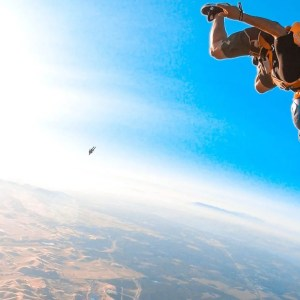 two friends skydiving over Byron in California