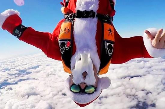 Santa Claus Skydiving during the Holiday.