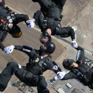 four people, skydiving, Perris, California, back flying, skydiving team