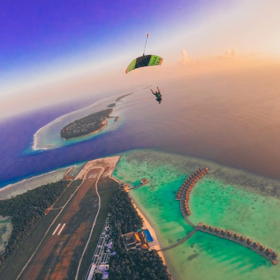 Parachute over the Mercure Maldives during The Maldives Skydiving Boogie