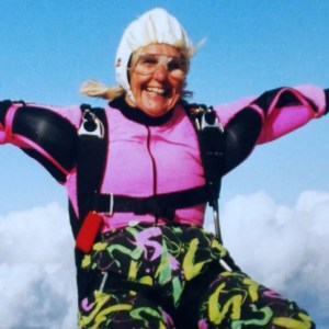 Dilys Price is a 82 years old skydiver
