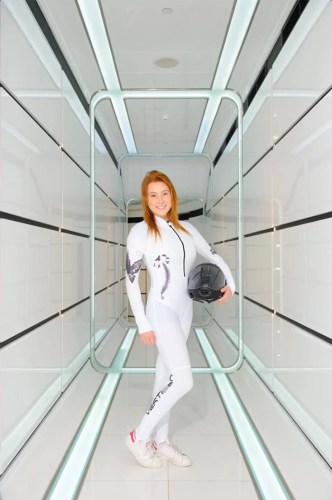 red hair, skydiver, indoor skydiving, jumpsuit and girl