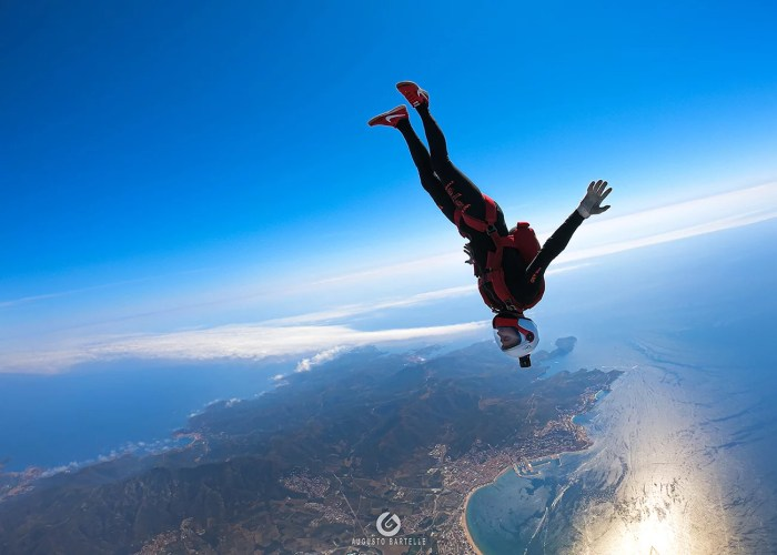 Will Penny skydiving over Empuriabrava in Spain. Sea view, nature, human flight, aerial shot.