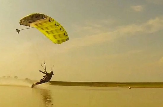 Skydiving Canopy Pilot swooping