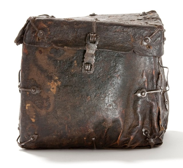 Leather book bag in late 1500s