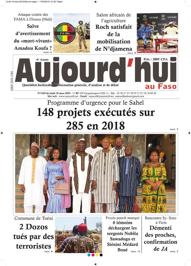 La Une du 18 mars 2019