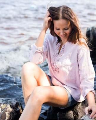 Pura Linen Ruffle Shirt Light Rose