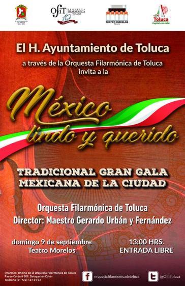 """Invita Toluca a la Tradicional Gran Gala Mexicana de la Ciudad """"México Lindo y Querido"""" (1)"""