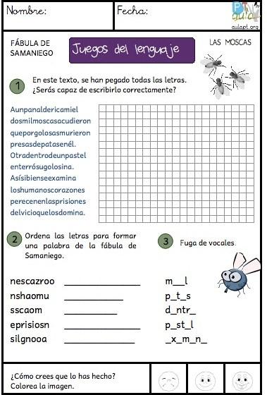Fábula De Samaniego Las Moscas Juegos Del Lenguaje Escrito Aula Pt