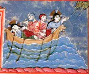 Jésus apaise la tempête; miniature de l'Evangéliaire d'Echternach, Nuremberg, XI° s.