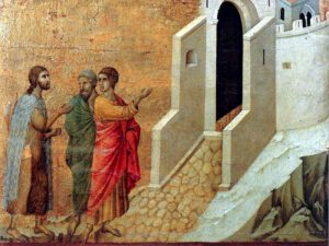 Duccio, les disciples d'Emmmaüs, 1300