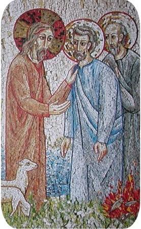 pierre-m-aimes-tu? mosaïque de Marko Ivan Rupnik, 20°s.