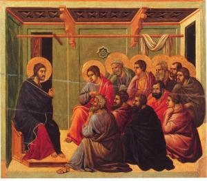 Duccio di Buoninsegna, Le  Christ parle de son départ à ses disciples, 1318