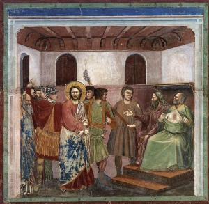 Giotto di Bondone, Le Christ devant Caïphe, 1305