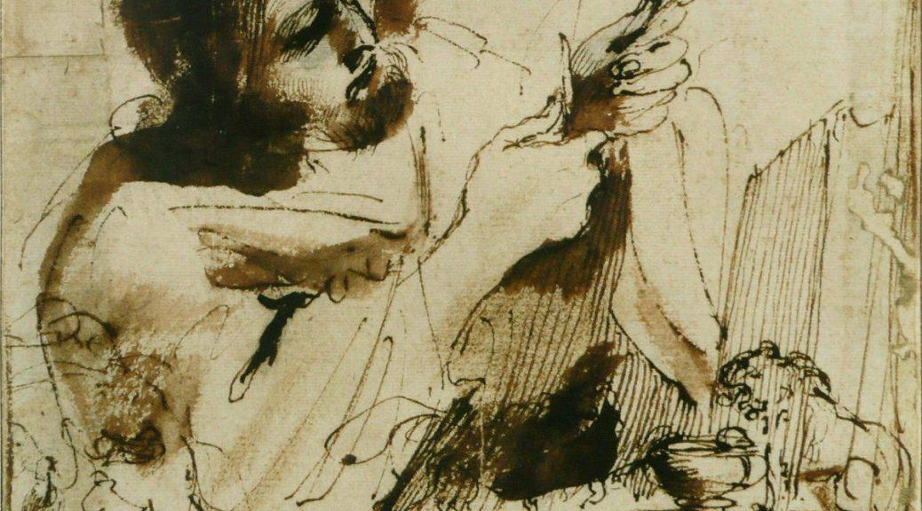 Le Guerchin, Saint Marc taillant une plume, XVII° s.