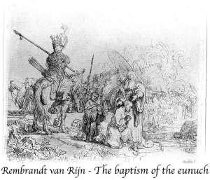 Rembrandt , le baptême de l'eunuque éthiopien par Phiippe,1650