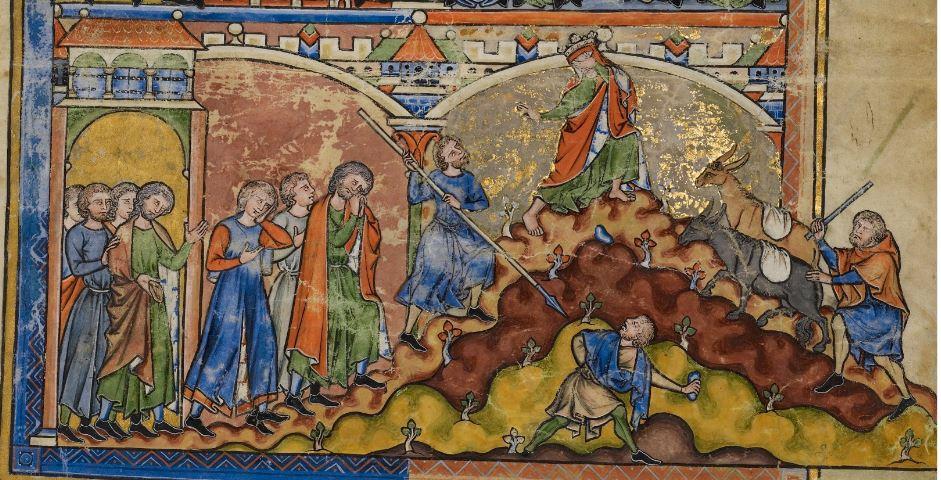 David fuyant Jérusalem, mss XIIe s.