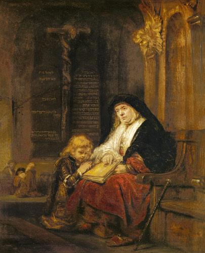 Rembrandt, Anne au Temple avec Samule, XVII°s.