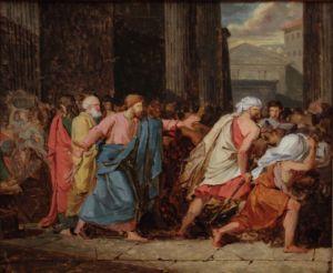 Anne-Louis Girodet-Trioson, Jésus chassant les marchands du temple, XIXe.