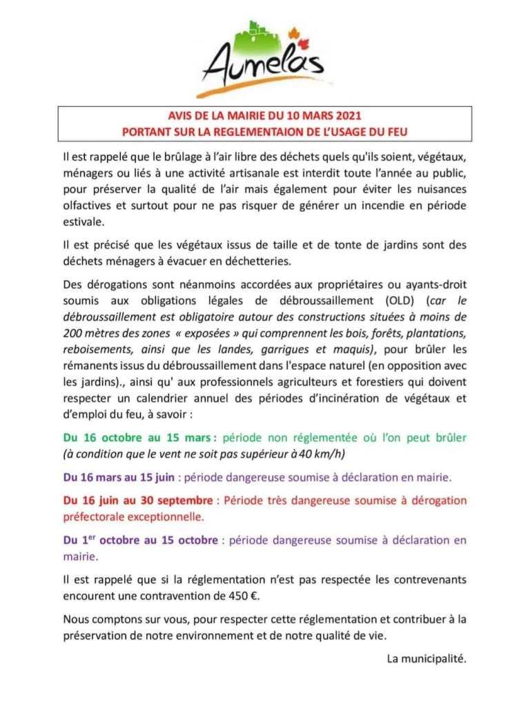 Avis de la Mairie du 10 Mars 2021 portant sur la règlementation de l'usage du feu