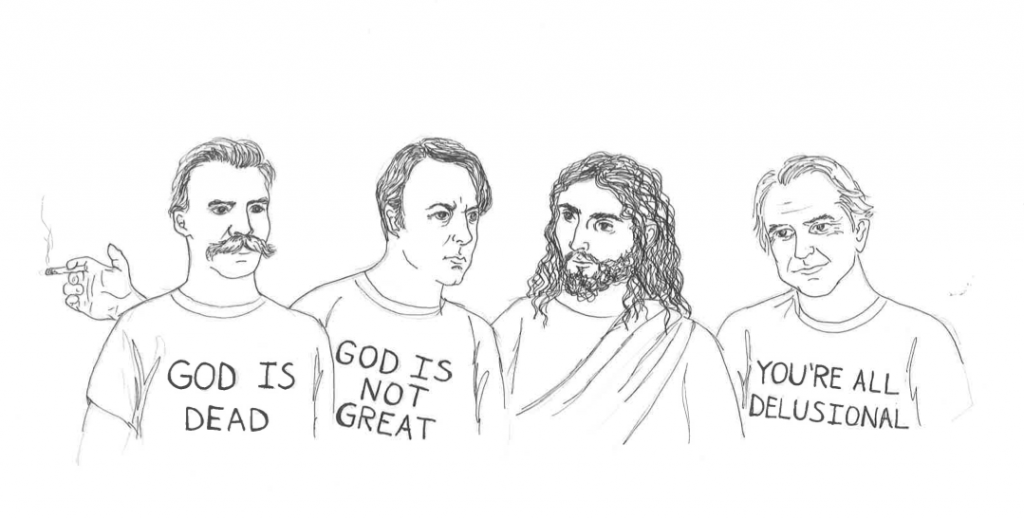Nietzsche, Hitchens, Christ, and Dawkins, by Rachel Ternes