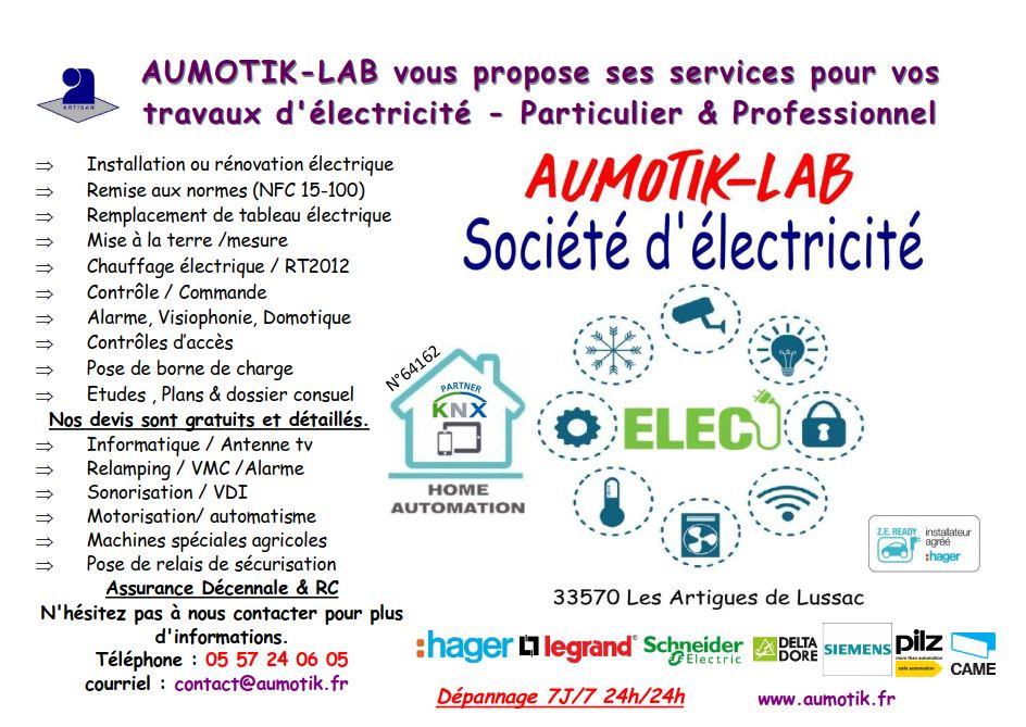 électricien installation rénovation électrique domotique Aumotik libourne electricite pas cher
