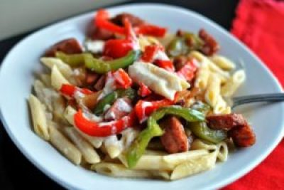 Smoked Sausage Penne Alfredo   Aunt Bee's Recipes