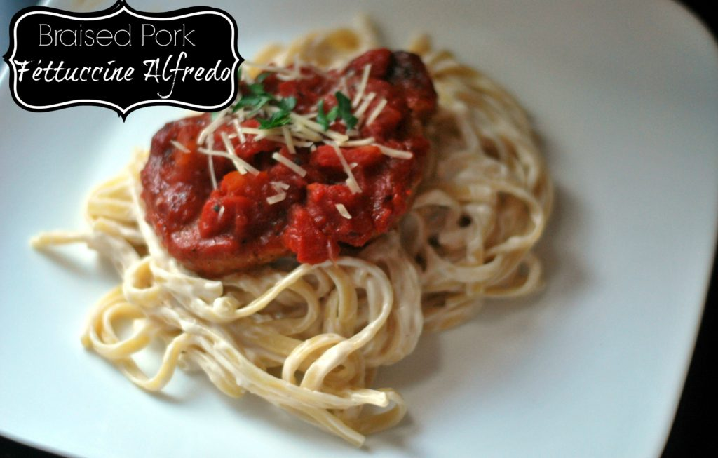 {5 Ingredient} Braised Pork Fettuccine Alfredo | Aunt Bee's Recipes