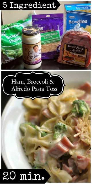 5 Ingredient Ham, Broccoli & Alfredo Pasta Sauce
