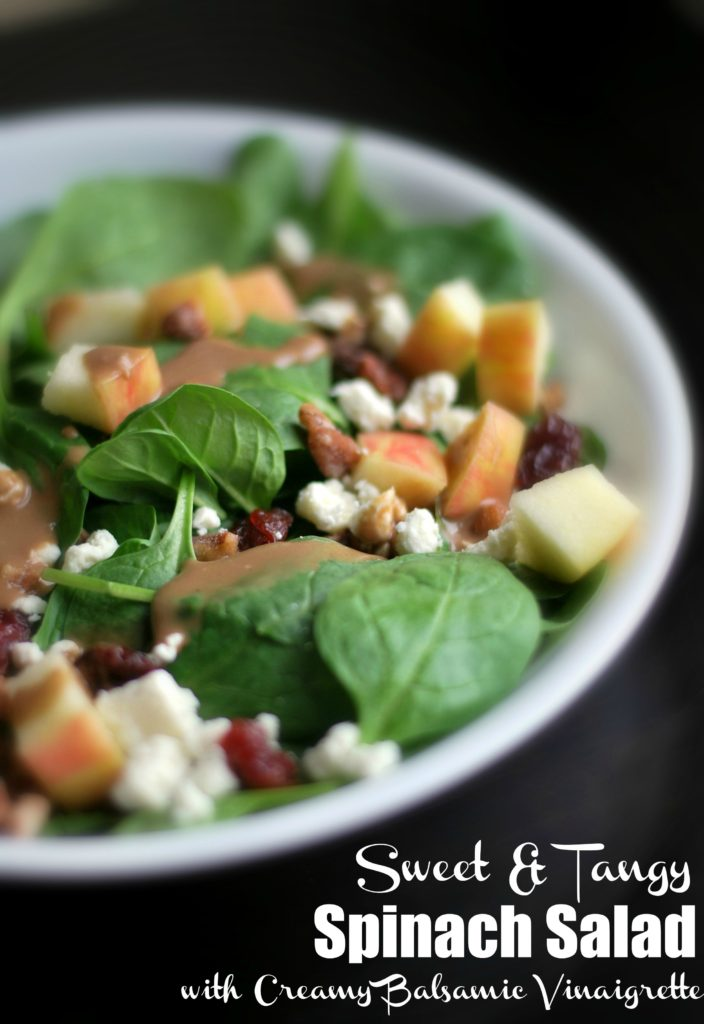 Sweet & Tangy Spinach Salad with Creamy Balsamic Vinaigrette | Aunt Bee's Recipes