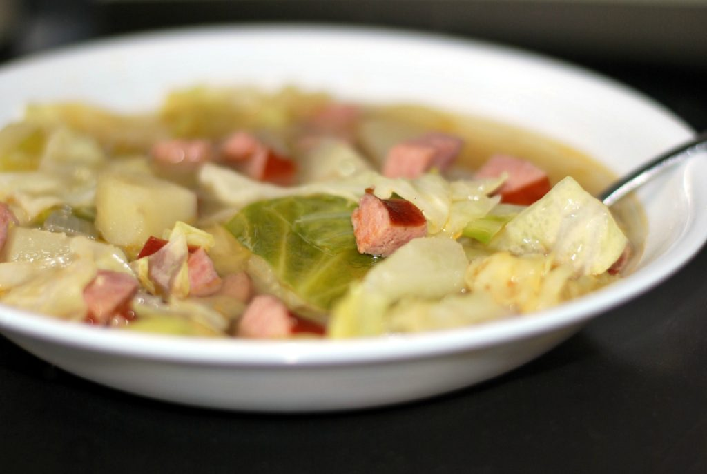 Smoked Sausage, Cabbage & Potato Soup | Aunt Bee's Recipes