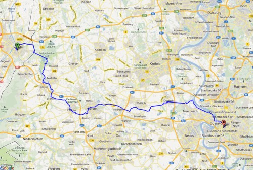 Planned GPS route from Venlo to Düsseldorf CVJM Hotel