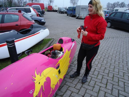 Velomobile with dog