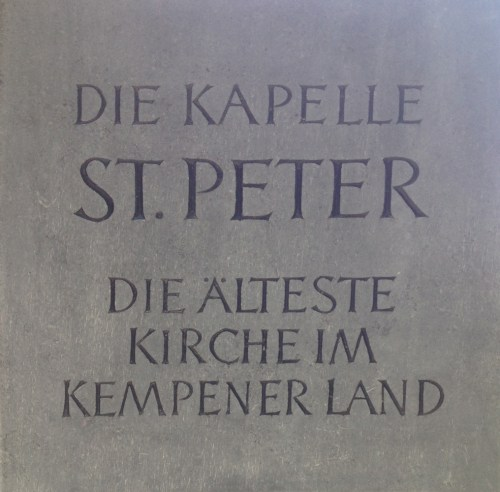 Kapelle St Peter Plaque