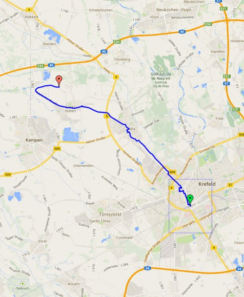 return route Krefeld to Escheln