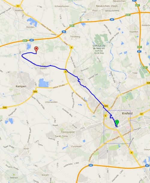 return route Krefeld to Escheln