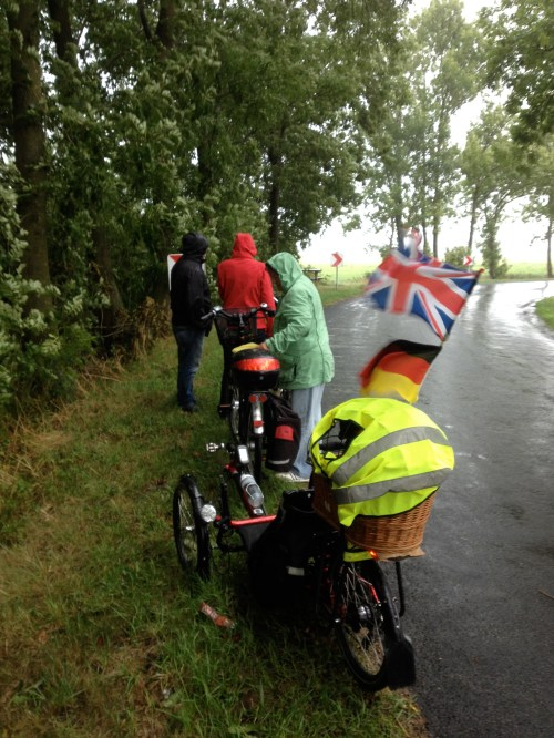 Sheltering from the rain in Leer