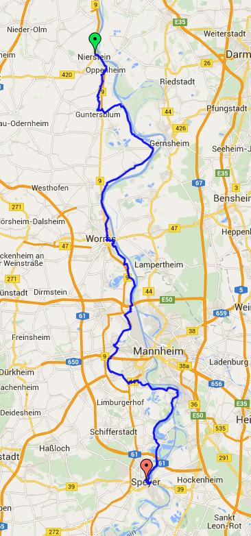 Nierstein to Speyer map