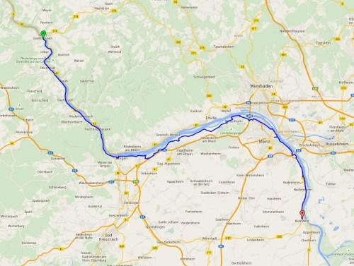 St Goar to Nierstein map