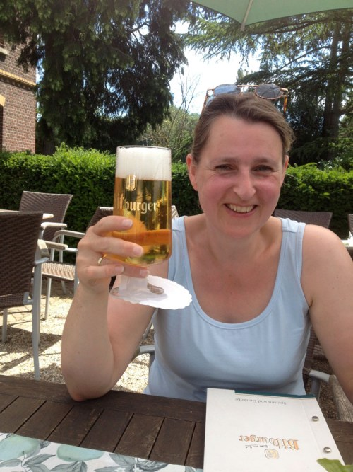 Claudia and beer