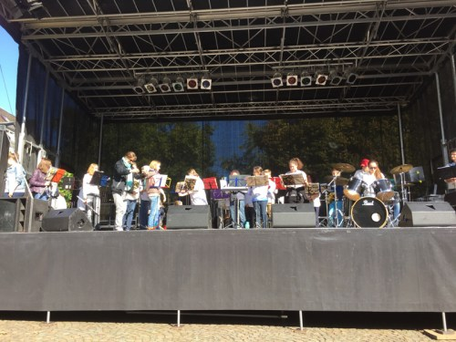 School orchestra on stage